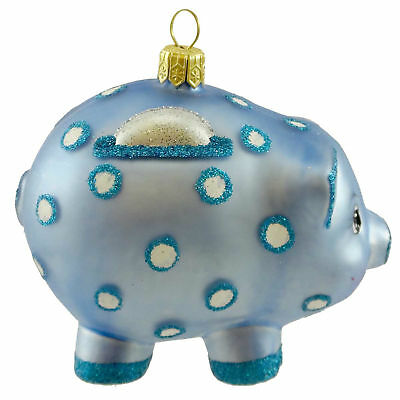 Ornaments To Remember PIGGY BANK BLUE Glass Save Money Birthday 21R2PIG004