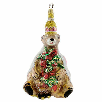 Larry Fraga KING GRIZZLEY Blown Glass Ornament Christmas 4156