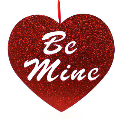 Valentines BE MINE GLITTERED HEART Wood Valentines Day Heart Glitter 259717