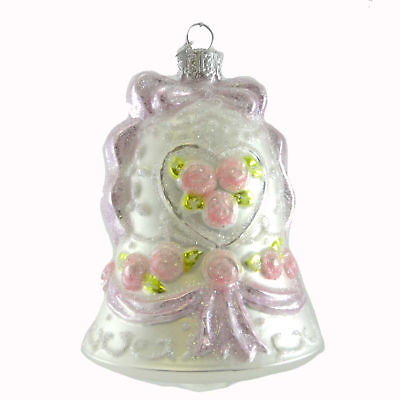 Noble Gems WEDDING BELL Glass Ornament Marriage C4575 PINK