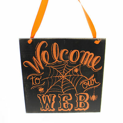 Halloween WELCOME TO OUR WEB SIGN Wood Wall Hanging Spider 27403