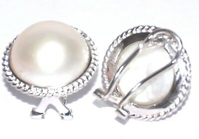 Genuine 14K W Gold South Sea MABE White Pearl French Omega Vintage Earrings