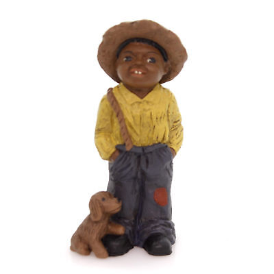 """All Gods Children TOBY 4.5"""" Polyresin African American Dog Overalls 1331"""