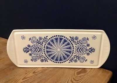 French Vintage Blue And White Folk Pattern Platter