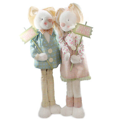 Easter MR AND MRS BUNNY WELCOMERS Fabric Spring Rabbit 76617