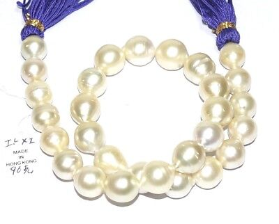Natural Pale Gold Australian South Sea 12-14.4mm 29 pcs Pearls Strand - Necklace