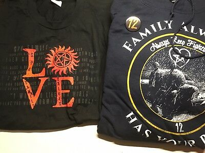 Supernatural Family Has Your Back Hoodie with season 12 Pin and LOVE t-shirt