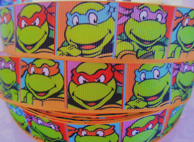 "TMNT NINJA TURTLES character Grosgrain Ribbon 1"" cake craft clip 2 yds 5 yds DCD"
