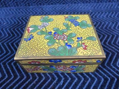Antique Cloisonne Box Chinese Japanese Yellow Green Blue Red