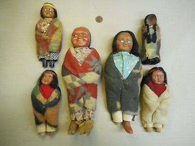 Old Skookum doll collection for repair or parts 6 DOLLS!
