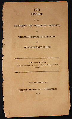 Original 1814 Petition of William Arnold Revolutionary Claims East Greenwich RI