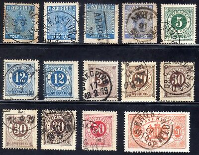Sweden 14 stamps with nice canc. all perf.14 except service stamp