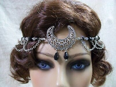 Gothic Moon Head Jewelry Circlet Crown Witch Headpiece Celestial Goddess Pagan
