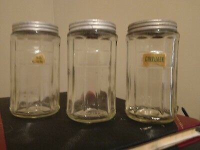 Vintage Hoosier Cabinet Storage Jars - Three with Lids & Bubbles /Inclusions