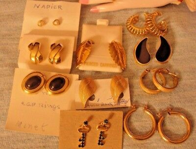 Designer Excellent Lot Of 10 Pairs Of Pierced Earrings Napier Avon Monet