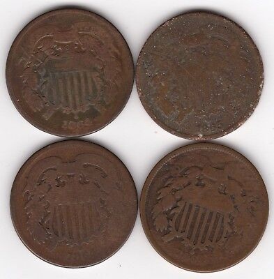 Lot of 4 U.S. 2 Two Cents Coins from 1864-1865