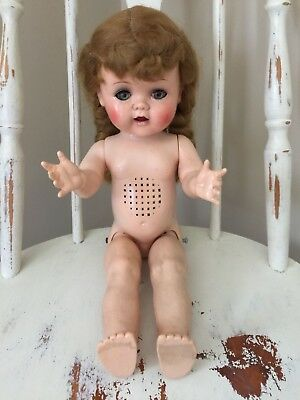 Vintage IDEAL Walker Doll W 16 with Working Crier Doll Worn