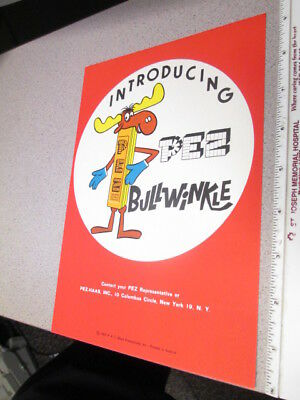 PEZ 1960s BULLWINKLE store display salesman sign INTRO Jay Ward
