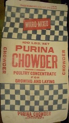 Vintage Cloth Purina Chowder Poultry Concentrate Feed Sack