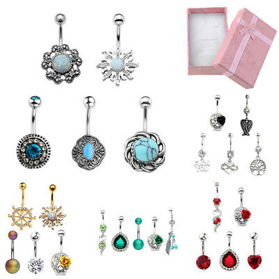 5Pcs Stainless Steel Mixed Color Belly Button Navel Ring Flesh Piercing Jewelry
