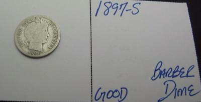 1897-S Silver Barber Dime! Good! Really Nice Type Coin! Awesome! Look!
