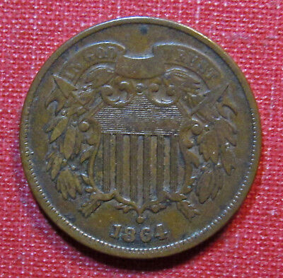 1864 Two Cent Piece - Strong Partial Motto, Very Nice Detail! Please View