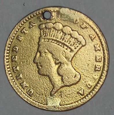 1857 U.S. Indian Princess Head $1 One Dollar Gold Coin - Hole Drilled