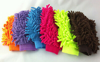 Double Sided Mitt Microfiber Car Dust Washing Cleaning Glove Towel Soft Pop
