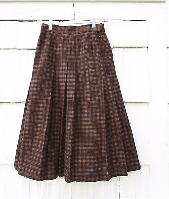 Vintage 1960's Yves Saint Laurent Rive Gauche Plaid Skirt Made In France Size 36