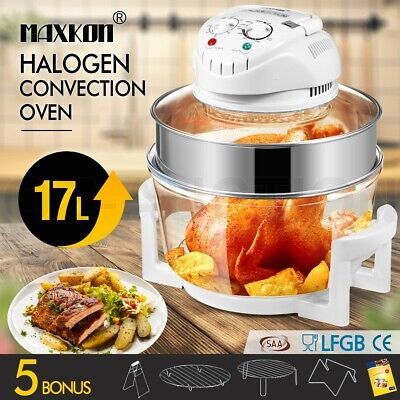 Maxkon 17L Halogen Oven Turbo Low Fat Convection Cooker Electric Air Fryer White