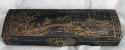 Vintage Chinese laquer brush (?) box.  overall gilt design