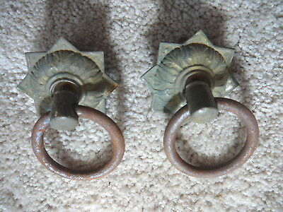 Antique Salvaged Pair Brass Back Plate Ring Pulls - Spool Cabinet Sewing Machine