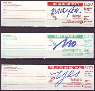 QE II GB 1986 3 Booklets FJ6 FP3 FT7 HANDWRITING SERIES NO YES MAYBE VERY LOW SH