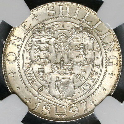 1897 NGC MS 63 Silver Shilling Victoria GREAT BRITAIN Coin (16111425C)