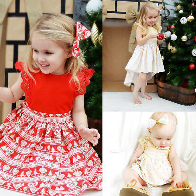 Newest Christmas Baby Girls Toodler Kids Xmas Lace Romper Dress Party Dresses
