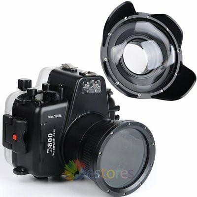 Meikon 60m Diving Housing Case + Fisheye Wide Angle Dome Port For Nikon D800
