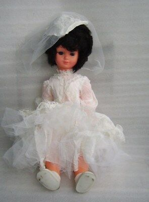 Rare Vintage Large Celluloid? And Rubber? Doll - Bride, Made In Italy?, Damaged