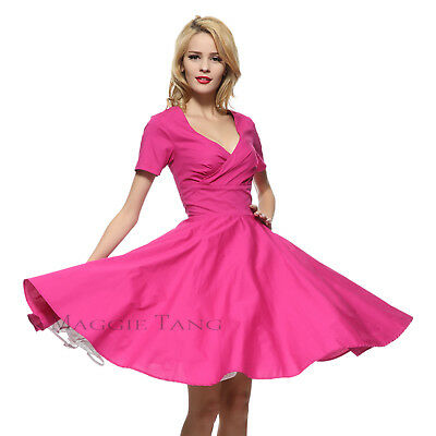 Maggie Tang 50s VTG Hepburn Rockabilly Pinup Party Swing Business Dress R-574