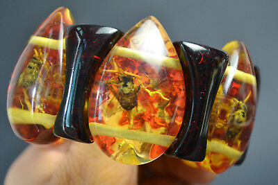 Collectible China Beautiful Amber Inlay Bee Decor Women Bracelet Noble