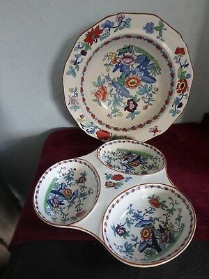 """Booths English China """"the Pompadour"""" 3 Section Dish, Open Veg Dish, Sauce Boat"""
