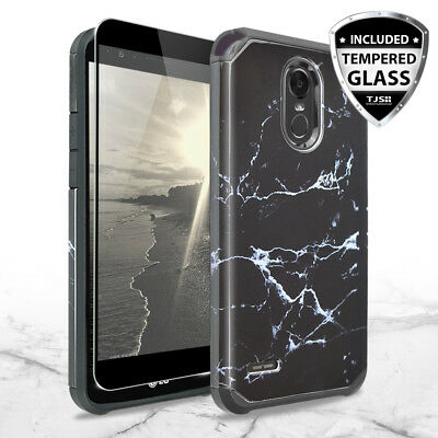 For LG Stylo 3 Plus / Stylo 3 Marble Pattern Rubber Case +Tempered Glass Screen