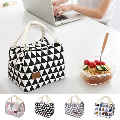 Insulated Canvas Lunch Panic Storage Bag Box Tote Thermal Cooler Food Lunch Bags