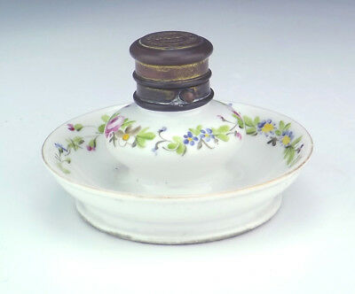 Antique Paris Limoges Porcelain - Hand Painted Flowers Inkwell - Early!