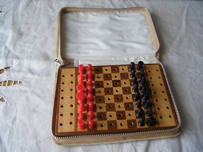 Vintage Travel Chess Set, Wooden Board, Plastic Pieces, Case, Complete
