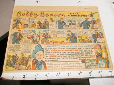 newspaper ad 1937 FORCE cereal box Bobby Benson western cowboy comic MOVIE