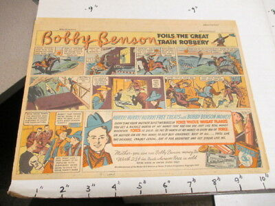 newspaper ad 1937 FORCE cereal box Bobby Benson western cowboy comic TRAIN