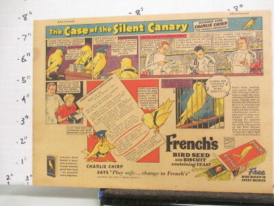 newspaper ad 1937 French's bird seed canary food SUPER SUDS laundry detergent