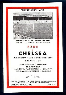 Reproduction Programme,Workington v Chelsea F.L.Cup 1964-65