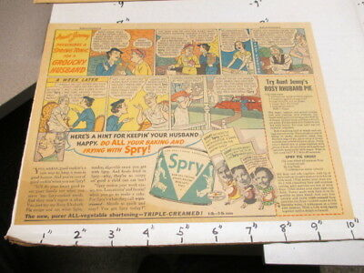 newspaper ad 1937 SPRY vegetable shortening fried food baking GROUCHY HUSBAND