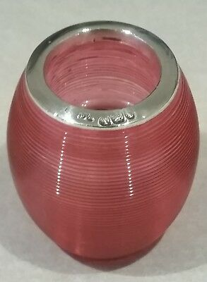 Antique Cranberry Colour Glass & Silver Match Striker London 1904